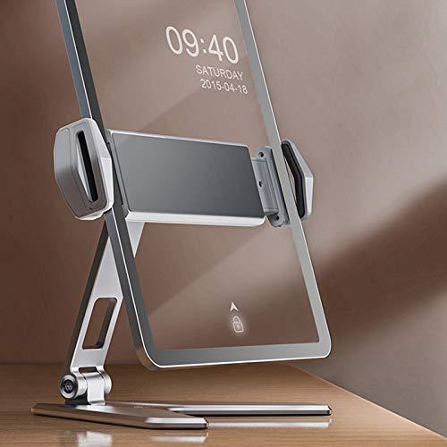 Takefuns Soporte para teléfono celular y tableta, aleación de aluminio de 5 a 14 pulgadas, bisagra doble universal, plegable, para iPad, teléfono móvil, smartphone, soporte con bolsa, gris, plateado