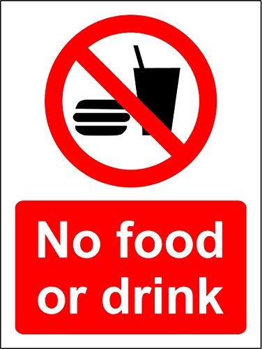 Geen voedsel of drank veiligheidsbord - Zelfklevende sticker 400mm x 300mm