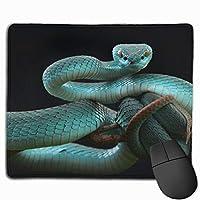 青蛇 美しいスネーク マウスパッド 運びやすい オフィス 家 最適 おしゃれ 耐久性 滑り止めゴム底付き 快適操作性 30*25*0.3cm