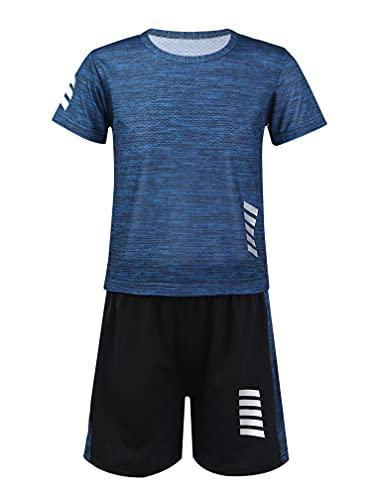MSemis Kinder Sport Kleidung Jungen T-Shirt und Shorts Set Sportanzug Sommer Fußball Trikots Set Jogginganzug Trainingsanzug Dunkelblau 110-116