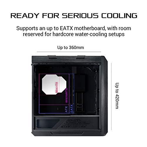 ASUS ROG Strix Helios Gaming Gehäuse (RGB, EATX/ATX, GPU, Aluminium, Aura Sync, 420mm-Radiatorunterstützung) Schwarz