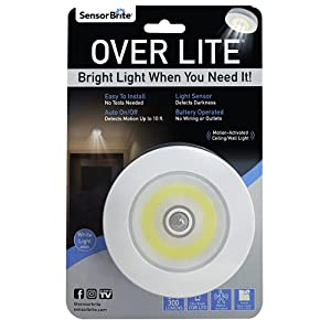Sensor Brite Overlite Wireless Motion-Activated Ceiling/Wall LED Light, Stick Anywhere, Overhead Light