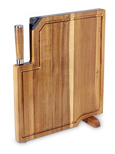 Echtwerk 3 in I Küchenmesser Set/ Schneidebrett aus Akazienholz mit integriertem Messerschärfer und Kochmesser (20cm)/ Tranchierbrett-Servierbrett-Schneidebrett zum Kochen und Schneiden