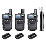 Retevis RB15 Vibration Walkie Talkies Rechargeable Adults 22 Channel Mini 2 Way Radio VOX Hands Free Emergency Alarm(3 Pack)