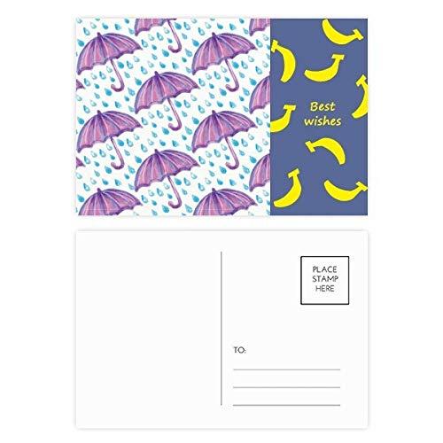 DIYthinker Paarse Aquarel Paraplu Regen Banaan Postkaart Set Thanks Card Mailing Side 20 stks 5.7 inch x 3.8 inch Multi kleuren