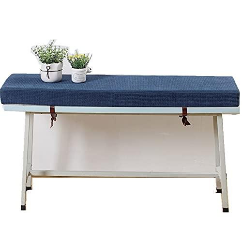Zomsame 7 cm de espesor, para jardín, patio, muebles de jardín, impermeable, cojín de banco para interiores, sala de estar, cocina, lavable (30 x 100 x 5 cm), color azul