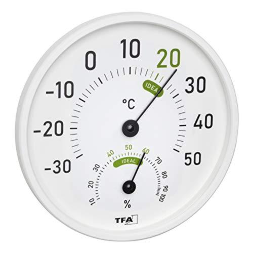 TFA Dostmann Analoges Thermo-Hygrometer, 45.2045.02, für innen und außen, mit farbigen Komfortzonen, weiß