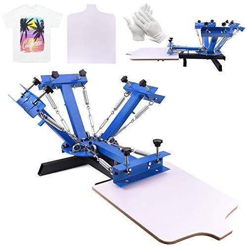 Seeutek Screen Printing Press 4 Color 1 Station Silk Screen Printing Machine Kit 21.7 x 17.7 Inch Removable Pallet for T-Shirt DIY Printing