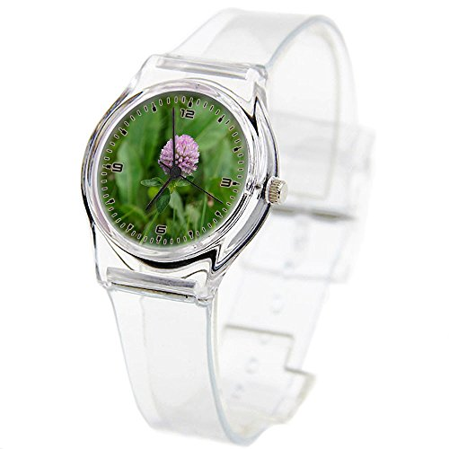 Personality Transparent Wristwatch Transparent Strap Summer Decoration Woman Child teacher Teen Young Girls Children Kids Watches Colorful Flower-116.Clover, Red Clover, Herb, Forage Plant