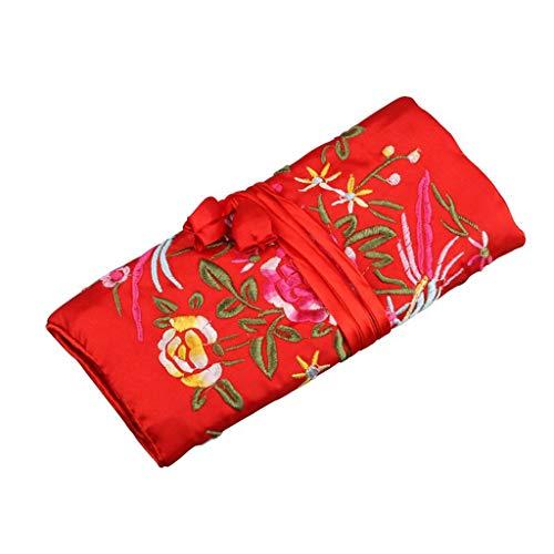 Desconocido Moregirl Oriental Silk Jewellery Roll Wrap Jewelry Pouch Organizador Estuche de Almacenamiento de Viaje