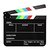 Acrylic Clapboard 9.6x11.7' /25x30cm Dry Erase Director Film Movie Clapper Board Slate with Color Sticks - Black