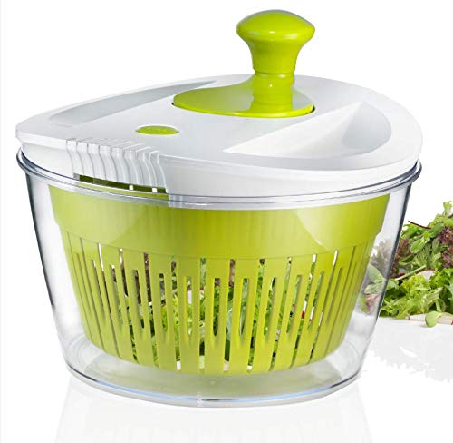 OVOS Large Salad Spinner 5 Quarts Fruits and Vegetables Dryer Quick Dry Keeper Design BPA Free Dry Off Drain Lettuce with Ease for Tastier Salads and Faster Food Prep