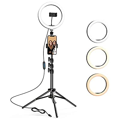 10.2 inch Selfie Ring Light with Tripod Stand & 2 Phone Holders, LETSCOM Dimmable Led Beauty Camera Ringlight for Makeup/Photography/YouTube Videos/Vlog/Tik Tok/Live, Compatible with iPhone & Android from LETSCOM
