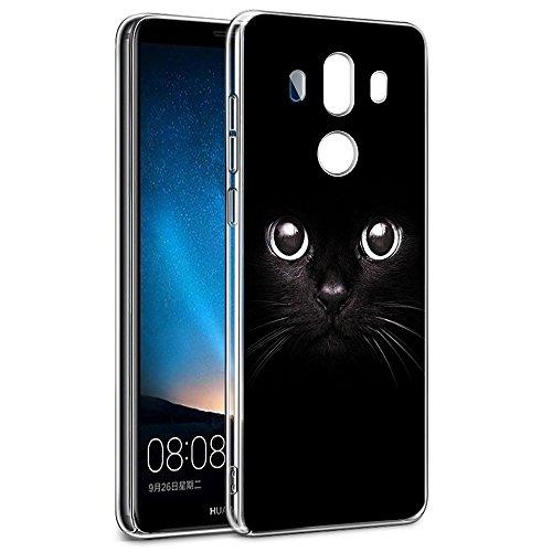 Eouine Cover Huawei Mate 10 Pro, Ultra Slim Protective Cover Trasparente con Disegni, Morbido Antiurto 3d Cartoon Gel Bumper Case Custodia in TPU Silicone per Huawei Mate 10 Pro (Gatto nero)