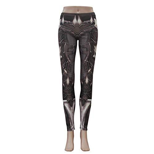 YJKGPZQLZ Leggings 3D Gothic Skull Punk Damen Leggings Hosen Fantastic Armor Grey Print Knöchel Workout Fitness Hose