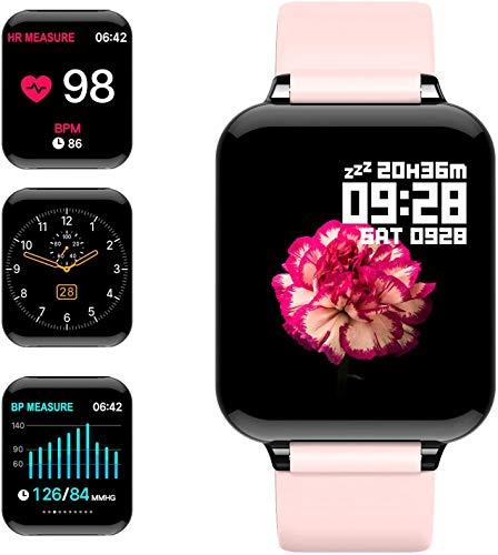 jpantech Smartwatch Reloj Inteligente IP67 con Correa Reemplazable Pulsómetro, Monitor de Sueño, Presión Arterial, 1.3Inch Pantalla Táctil Reloj Inteligente para Mujer Hombre (Rosa)