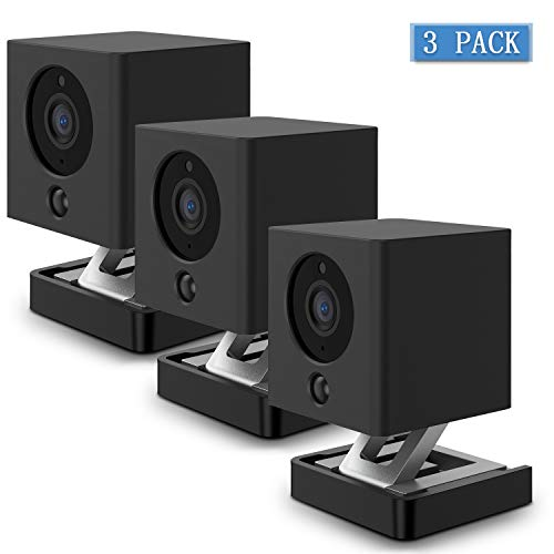 HOLACA Silicone Skin for Wyze Cam Wyze Cam V2 - Come with Quick Wall Mount Bracket - Anti-Scratch Protective Cover - Extra Protect Wyze Camera (3 Pack, Black)