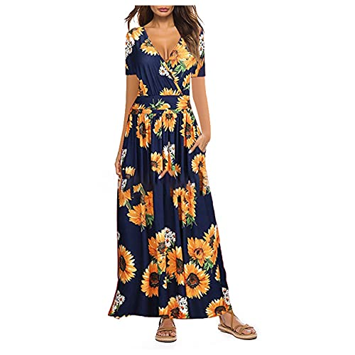 Vestito lungo da donna, estivo, elegante, stampa girasole, scollo a V, sexy, maxi, per il tempo libero, da donna, a maniche corte