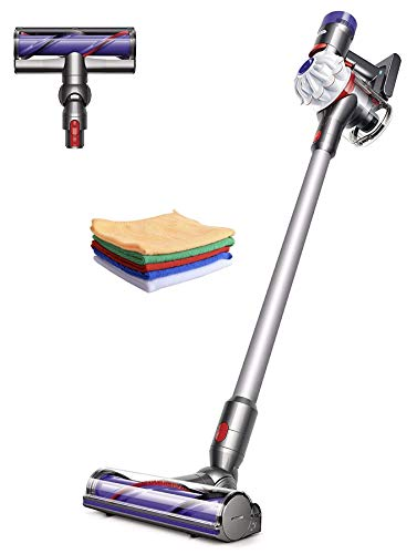 Premium Dyson V7 Allergy HEPA Cordless Stick Vacuum Cleaner: Lightweight, Powerful, Bagless Ergonomic, Telescopic Handle, Rechargeable Battery, Height Adjustable, White + Hubxcel One Microfiber Cloth