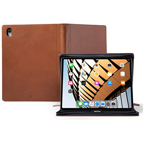 Twelve South Journal for 12.9 - inch iPad Pro (Gen 3) | Luxury Leather Protective Case and Easel with Pencil / document / keyboard storage for iPad Pro + Apple Pencil