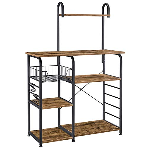 YAHEETECH Industrial Kitchen Baker's Rack Utility Microwave Oven Stand with Wire Basket & 10 S Hooks, Coffee Bar Spices Utensils Storage Shelf, Easy Assembly, Rustic Brown