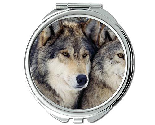 Yanteng Spiegel, Schminkspiegel, Animal Wolf Wandspiegel, 1 X 2X Vergrößerung