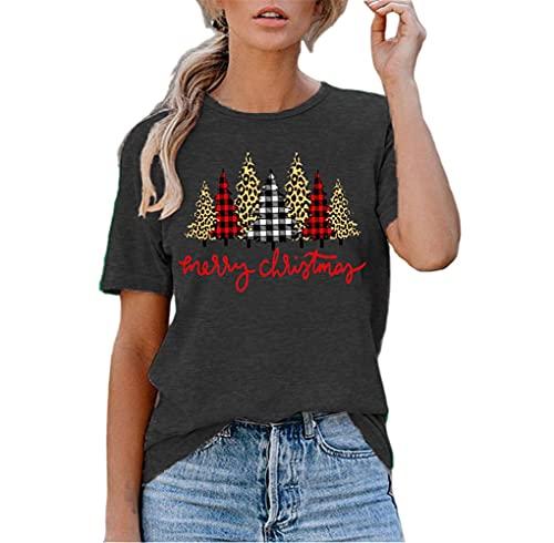 Manga Corta Mujer T-Shirts Moda Lúdica Verano Cuello Redondo Mujer Tops Único Letra Árbol De Navidad Estampado Diseño Diario Casual Cómodo All-Match Mujer Blusa I-Grey4 XXL