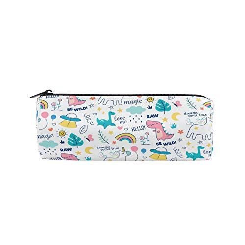 Zylinder-Federmäppchen, rund, bunt, Kritzeltiere, Wörter, Muster, Büro, Schreibwaren, Multifunktionstasche mit Reißverschluss für Studenten, Männer, Frauen