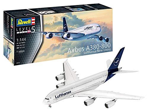 Revell 03872 Passagierflugzeug Airbus A380-800 Lufthansa New Livery, 1:144/50,4 cm originalgetreuer Modellbausatz für Experten, unlackiert, 1/144