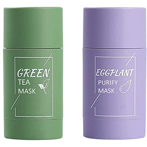 Stick of Green Tea Mask And Eggplant Purifying Mask, Blackhead Remover Anti-Acne To Reduce Acne,Face Moisturizes,Oil Control, Deep Clean Pore, Improves Skin,for All Skin Types Men Women (2 bottles)