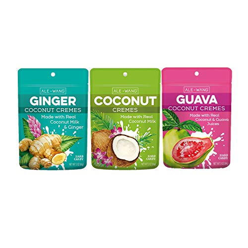 ALE + WANG 100% Coconut Cremes Hard Candy Bundle — Coconut, Ginger Coconut and Guava Flavors — 100% Natural Vegan Dairy and Gluten-Free Candies — 3-Pack of x 3oz (84g)