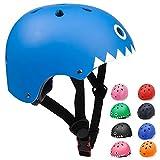KORIMEFA Casco Bicicleta para Niños Casco Infantil Ajustable para Monopatín Patinaje BMX Esquiar, Casco para multibles Deportes niño niña de Edad de 3-13 años (Tiburón Azul, S)