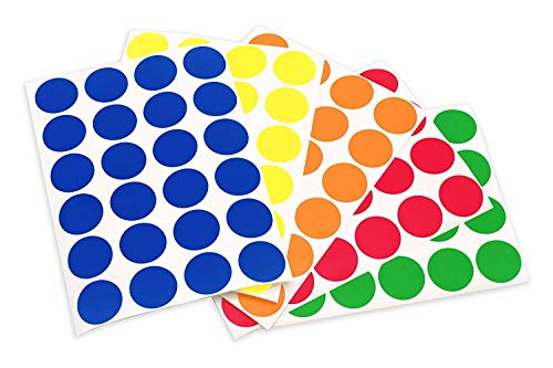"""1200 pcs 3/4""""Round Self-Adhesive Removable Labels, Color-Code Dot Stickers,Vinyl Stickers, Waterproof Stickers,Aesthetic Stickers for Phone, Laptop, Bike, Helmet(24 Labels per Sheet, 5-Color Kit)"""
