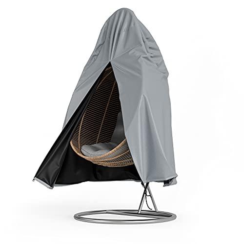 YoungBee Housse de protection pour fauteuil suspendu, imperméable, coupe-vent, anti-UV, fil teinté Oxford 600D, matériau de couverture pour fauteuil suspendu 115 x 190 cm, argent