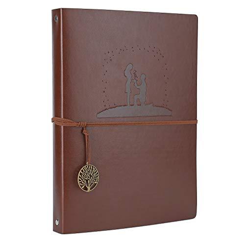 Notizbuch A4, AIOR Notizbuch Nachfüllbar Paperblank Reisetagebuch Skizzenbuch Mit Retro-Anhängern, Ungefüttertes Papier Tagebuch für Mädchen Frauen Jungen, Hochzeit