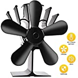 Ventilateur Poele Bois, ZOTO Poêle Ventilateur 5 Pales Silencieux Alimenté Par la Chaleur, Pour Poêles à Bois et Cheminées,...