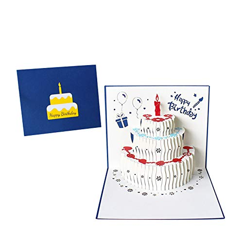 Pop Up Birthday Card, Hesieu 3D Cake Greeting Card with Envelope, Happy...