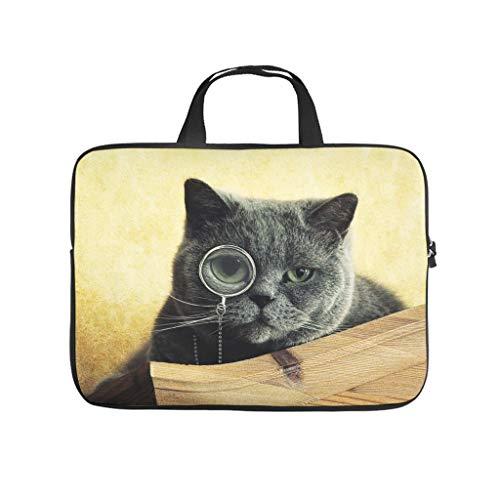 Bonito gato con gafas individuales, bolsa para portátil, resistente al agua, maletín para ordenador portátil, bolsa para el trabajo, negocios
