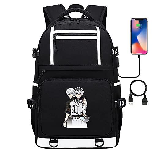 EDMKO Mochila De Anime De Dibujos Animados Tokyo Ghoul portátil Mochila Escolar Impermeable USB Bolsa para Laptop Adolescentes Niños Kaneki Ken Bolsa de Viaje,C