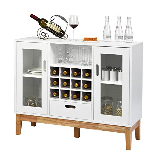 Giantex Buffet Sideboard, Wood Kitchen Server, Storage Cupboard, Wine Rack, 2 Cabinets, Drawer and Open Shelf, Dining Room Furniture (White & Natural)