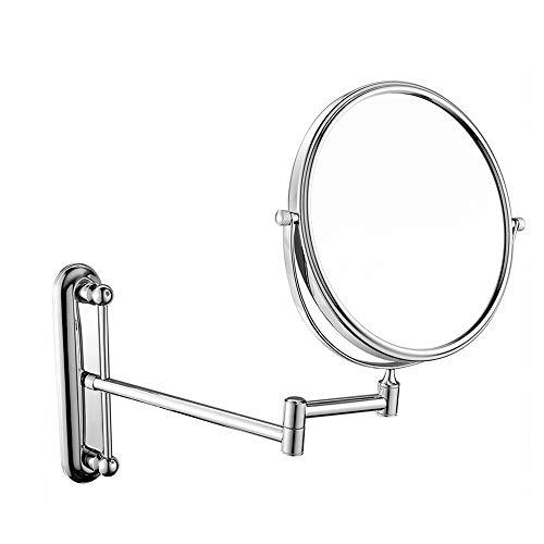 miroir grossissant,Miroir de maquillage Tenture murale télescopique pliant miroir de beauté de salle de bains 8 pouces chromé