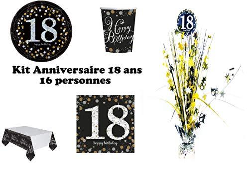Mgs33 Kit Anniversaire 18 Ans Complet décoration Table 16 Personnes (16 Assiettes, 16 gobelets, 16 Serviettes, 1 Nappe + 1 Centre de Table ) Joyeux Anniversaire Or doré argenté Gold Silver Brillant