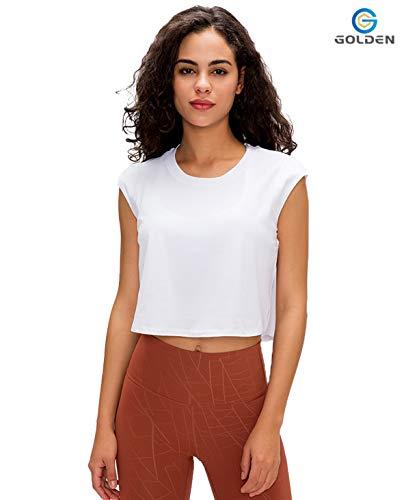 GOLDEN® Damen Yoga Sport & Fitness Tank Top, Workout Shirt Activewear Für Frauen Ärmellos Rundhals, Sporttop, Oberteil (Reines Weiß, XL)