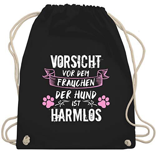 Geschenk für Hundebesitzer - Vorsicht vor dem Frauchen der Hund ist harmlos - Grunge/Vintage - Weiß - Unisize - Schwarz - Frauchen - WM110 - Turnbeutel und Stoffbeutel aus Baumwolle