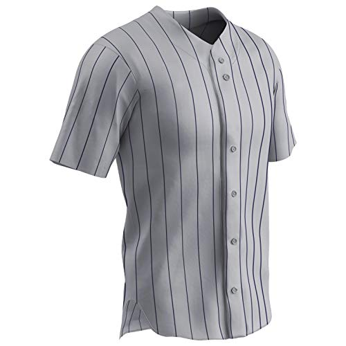 CHAMPRO Ace Polyester Button Front Baseball Jersey, Adult Large, Grey, Navy Pin