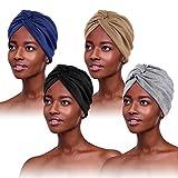 4 Piezas Turbantes para Mujer,Pañuelos Quimioterapia,Gorros Oncologicos para Mujer,Pañuelo Cabeza Mujer, Mujer Pelo Largo Verano Turbantes Lástico Frontal Cruzado Algodón