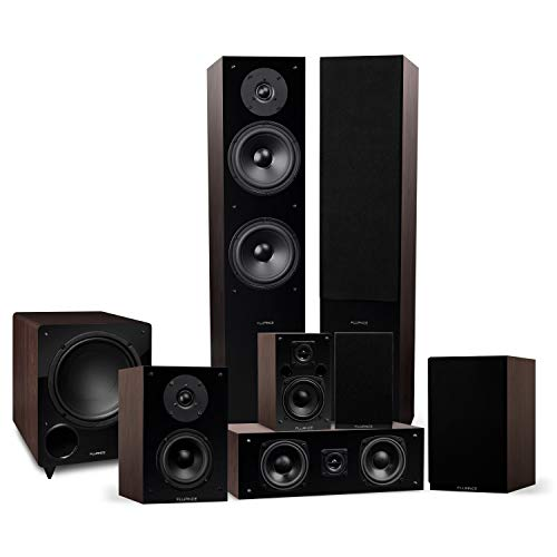 Fluance Elite Series Surround Sound Home Theater 7.1 Channel Speaker System Including Floorstanding, Center Channel, Surround, Rear Surround Speakers, and a DB10 Subwoofer - Walnut (SX71WR)