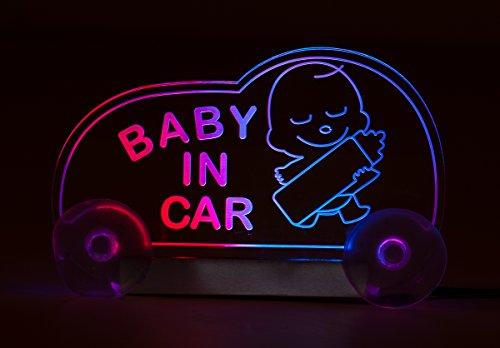"""Preisvergleich Produktbild LED-Leuchttafel""""BABY IN CAR"""" tranparent / pink / blau mit Stecker,  geschaltet,  12V"""