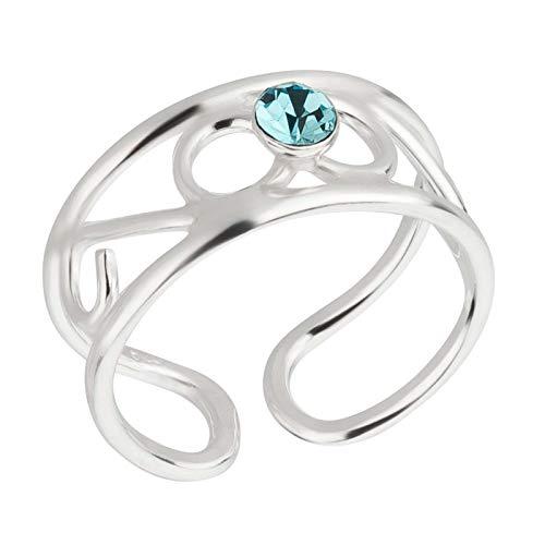 FIVE-D Ring Zehenring Kristall Grösse einstellbar aus 925 Sterling Silber im Geschenketui (Modell-2 Hellblau)