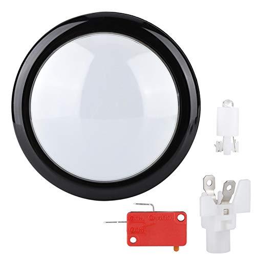 Asixxsix Botón de Juego Redondo, botón de luz LED, Interruptor de botón de bocina abs para el Aula para un Uso Seguro(White)